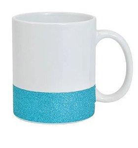 Caneca para Sublimação de Cerâmica Base Glitter Azul Importada Live