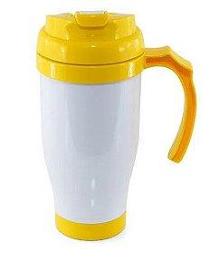 Copo Térmico de Plástico para Sublimação com Tampa Bico, Alça e Fundo Amarelo - 475ml
