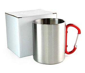 Caneca de Aço Inox para Sublimação com Alça Mosquetão - 300ml