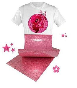 Filme de Recorte Glitter Pink para Sublimação Formato A4 - 5 Fls