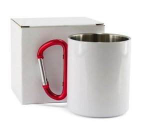Caneca de Aço Inox Branca para Sublimação com Alça Mosquetão - 300ml