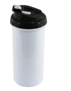Squeeze de Plástico Branco para Sublimação com Tampa Preta - 475ml