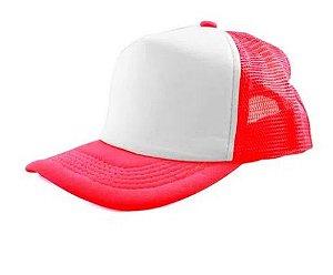 Boné de Tela com a Frente Branca para Sublimação Livesub - Vermelha