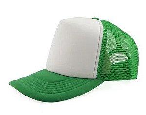Boné de Tela com a Frente Branca para Sublimação Livesub - Verde