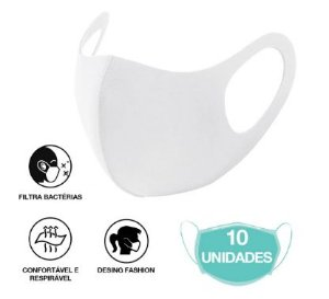 10 Máscara Facial Neoprene Adulto - Branca