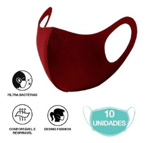 10 Máscara Facial Neoprene Adulto - Bordô