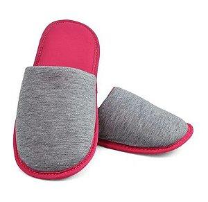 Pantufa para Sublimação Rosa / Cinza - Adulto