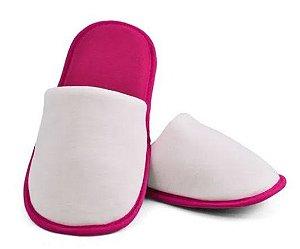 Pantufa para Sublimação Rosa / Branco - Adulto