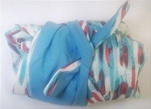 Turbante das Divas - Branco/azul e vermelho