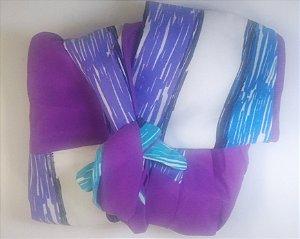 Turbante das Divas - Azul/ roxo e branco