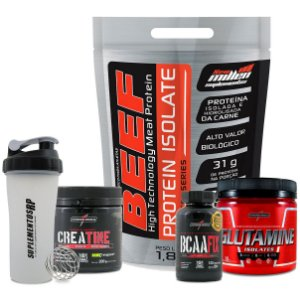 Super Combo M. Muscular + Explosão (BEEF ISOLATE + GLUTAMINA + BCAA FIX + CREATINA)