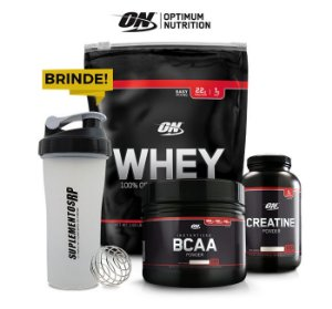 Kit Optimun Nutrition Black Line Whey + Bcaa + Creatina