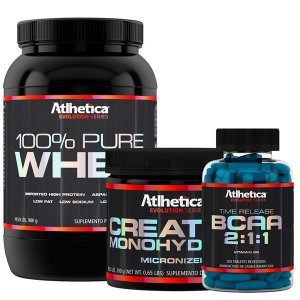 Kit Ganho de Massa - 100% Pure Whey (900g) + Creatine + BCAA 200tab time release