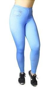 Calça Legging Jeans Fitness sem Rasgo