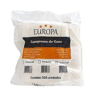 COMPRESSA DE GAZE 13 FIOS 7,X7,5 C/ 500 EUROPA
