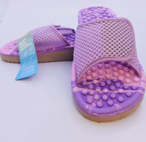 Chinelo Anabela Com Velcro Rosa/Lilás Massageador Para Esporão de Calcâneo Mundoflex