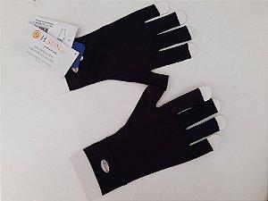 Luva Curta 1/2 Dedo Com Proteção Solar Preta Harana Sun