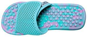 Chinelo Anabela com Velcro Massageador para Esporão  Rosa Claro e Verde Água