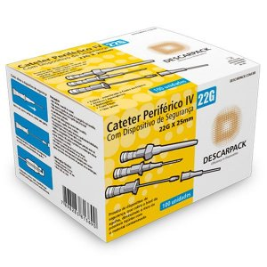 Cateter Periférico IV 22G x 25mm Descarpack
