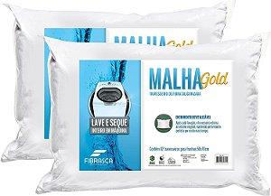 Travesseiro de Fibra Siliconizada Malha Gold