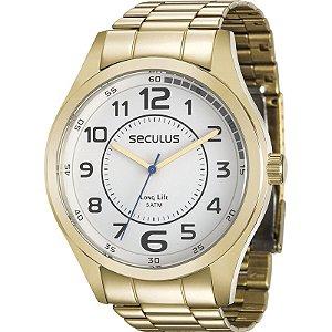 Relógio Seculus Masculino Analógico Dourado 28921GPSVDA2
