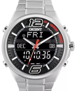 Relógio Orient Masculino Anadigi Aço MBSS1154AG2SX