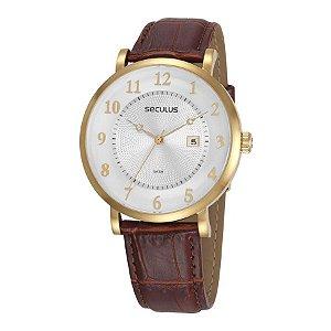 Relógio Seculus Masculino Analógico Couro 20627GPSVDC1