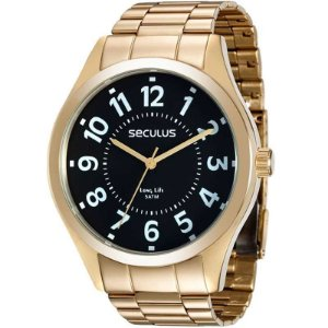 Relógio Seculus Masculino Analógico Dourado 28866GPSVDA2