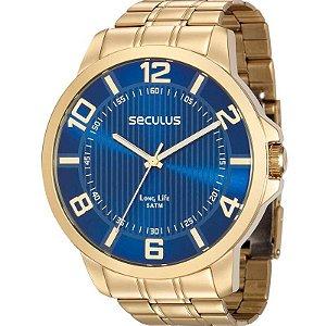 Relógio Seculus Masculino Analógico Dourado 28893GPSVDA2