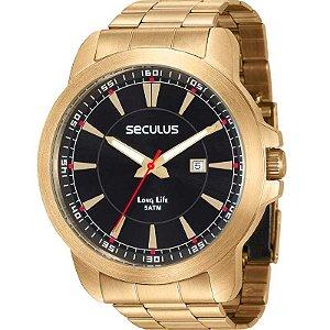 Relógio Seculus Masculino Analógico Dourado 28928GPSVDA2