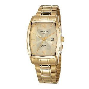 Relógio Seculus Masculino Analógico Dourado 23664GPSVDA1