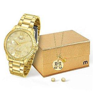 Relógio Mondaine Signo Gêmeos Feminino Analógico Dourado 53642LPMVDE1