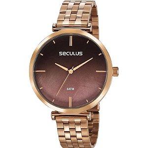 Relógio Seculus Feminino Analógico Dourado Rosê 77040LPSKRS2