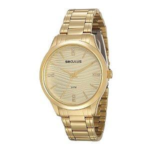 Relógio Seculus Feminino Analógico Dourado 23619LPSVDS1