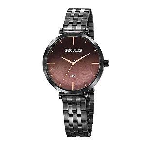 Relógio Seculus Feminino Analógico Preto 77040lpskss3