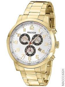 Relógio Magnum Masculino Cronógrafo Dourado MA33166H