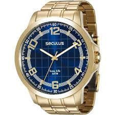 Relógio Seculus Masculino Analógico Dourado 28896GPSVDA2