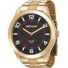 Relógio Seculus Masculino Analógico Dourado 28983GPSVDA3