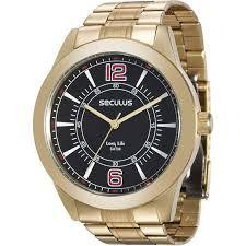 Relógio Seculus Masculino Analógico Dourado 28864GPSVDA3