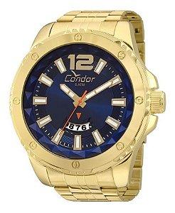 Relógio Condor Masculino Dourado Azul Co2115wx/4a