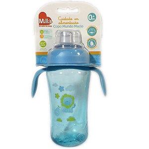 Copo Infantil Bebê Com Alça Mundo Macio Grande Azul Menino - Milla
