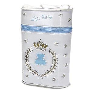 Porta Mamadeira Protetor Térmico Com Isopor Duplo Azul