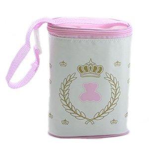 Porta Mamadeira Protetor Térmico Duplo Rosa Menina