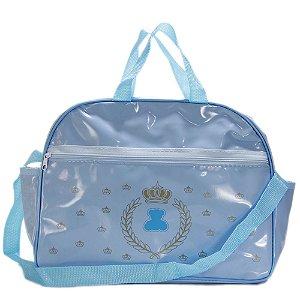 Bolsa Frasqueira Maternidade Mamãe e Bebê Média Em Vinil Azul Menino