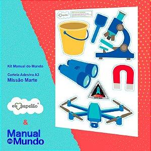 CARTELA ADESIVA A3 MANUAL DO MUNDO - FOGUETE - MISSÃO MARTE