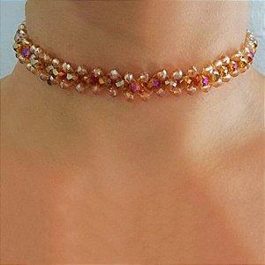 Colar choker feminino com cristais na cor caramelo furtacor