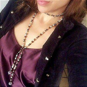 Conjunto colar choker feminino e colar feminino com cristais