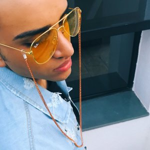 Cordinha corrente para óculos laranja