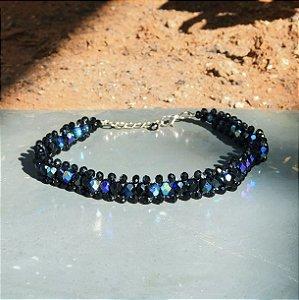 Colar feminino choker com cristais preto furtacor