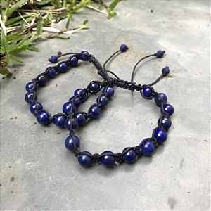 Combo Pulseiras Shambalas com pedras Lapis Lazuli